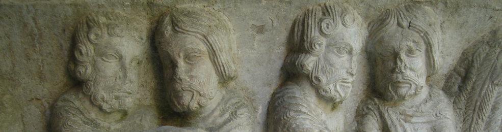 Fresques d'une colonne du cloître de la cathédrale de Sainte-Marie de Gérone