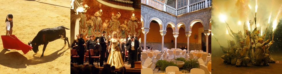 Capea dans les arènes d'une hacienda / Concert / Dîner de gala dans un palais privatisé / Correfocs