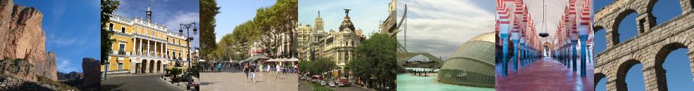 Mallos de Riglos à Huesca / Mairie de Badajoz / Ramblas de Barcelone / Immeuble Metropolis à Madrid / Cité des Arts et des sciences à Valence / Mosquée - Cathédrale de Cordoue / Aqueduc de Ségovie